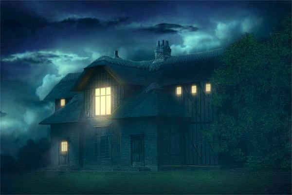Create a photo manipulation with a mysterious house in