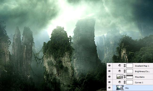 Create in Photoshop landscape in the style of Matt Paint